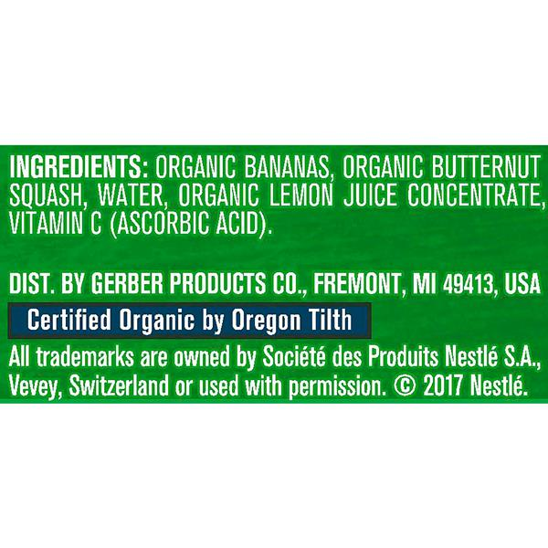 Gerber Organic 2nd Foods Fruit & Veggies Banana Squash