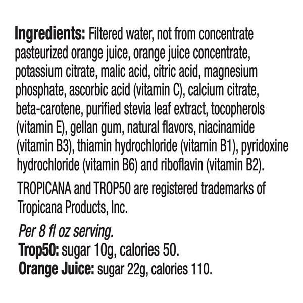 Tropicana Trop 50 No Pulp Orange Juice
